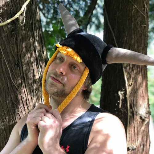 Novelty Viking Helmet Polar Fleece Hat with Braids Model Shot