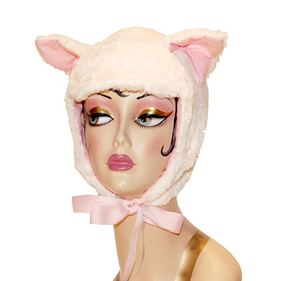 Ivory Faux Fur Cat Hood Novelty Animal Hat