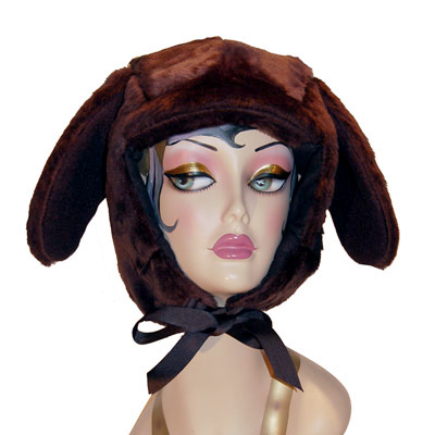 Faux Fur Lab Style Dog Hood Novelty Animal Hat Brown