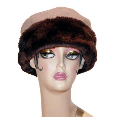 Faux Fur Cuffed Polar Fleece Pillbox Hat
