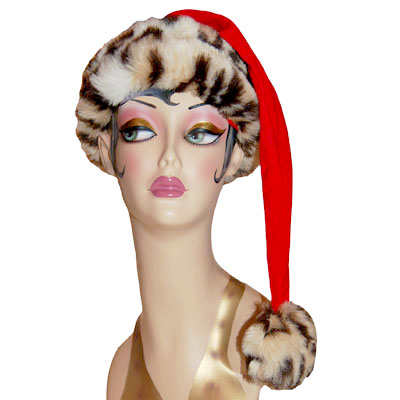 Fleece Santa Claus Hat Faux Fur Cuff Style Novelty Cap Leopard