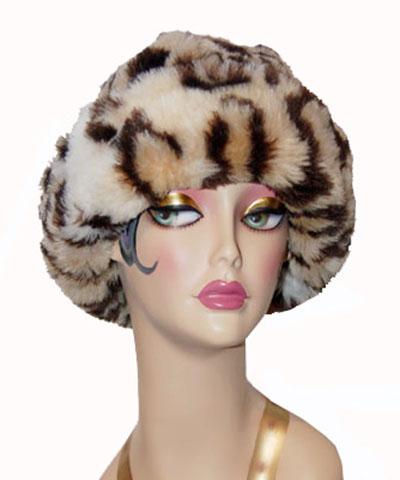 Leopard Faux Fur Cuffed Beanie Hat