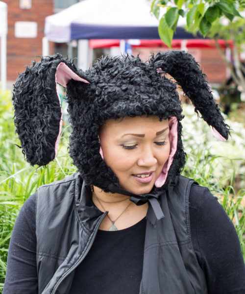Yak Yak Bunny Novelty Animal Hood in Black 2