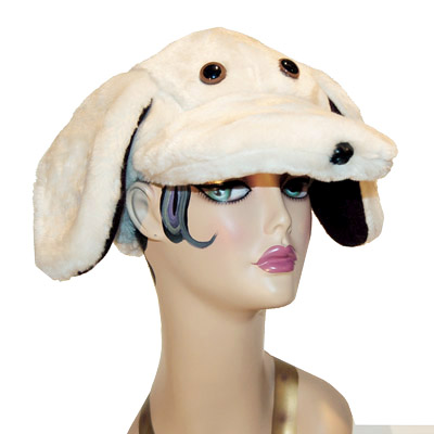 Faux Fur Lab Style Dog Cap Novelty Animal Hat Yellow Ivory