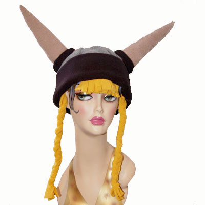 Novelty Viking Helmet Polar Fleece Hat with Braids