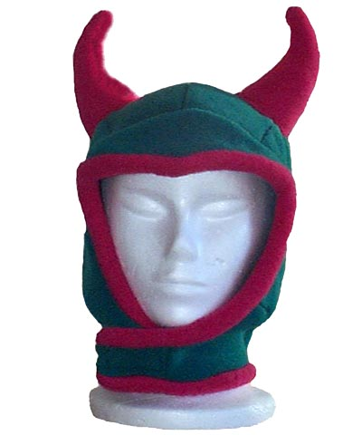 Polar Fleece Devil Hood Novelty Hat Turquoise and Pink