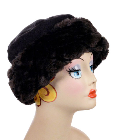 Black Tiger Faux Fur Cuffed Polar Fleece Pillbox Hat
