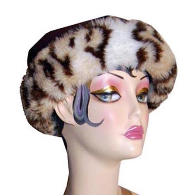 Leopard Faux Fur Cuffed Polar Fleece Pillbox Hat
