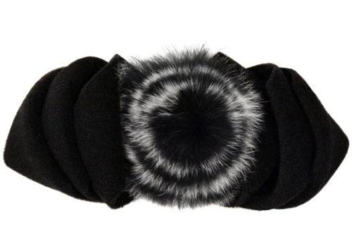 Polar Fleece & Fur Bow in Black