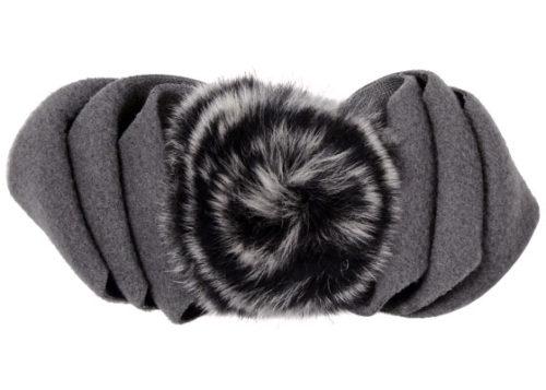 Polar Fleece & Fur Bow in Gray