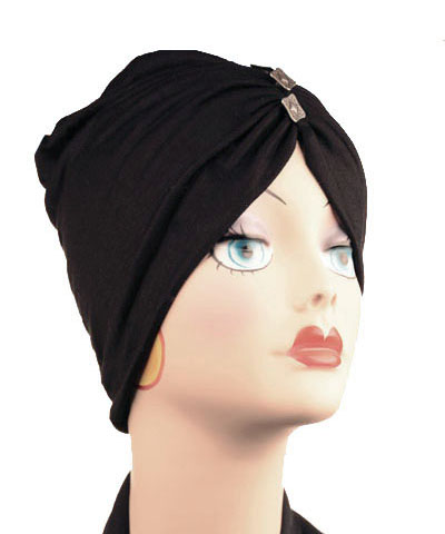 Edith Hat in Candy Shop Jersey Knit in Licorice