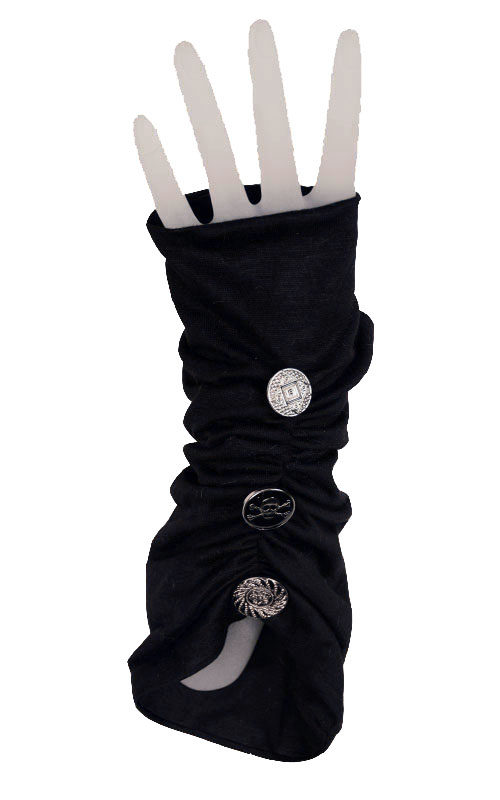 Ruched Fingerless Gloves in Candy Shop Jersey Knit in Licorice