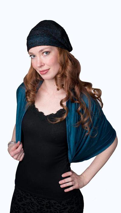 Wide Infinity Scarf in Candy Shop Jersey Knit in Blue Razz Model Shot