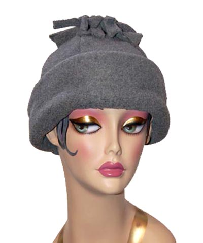 Tassel Polar Fleece Cuffed Six Panel Beanie Hat Gray