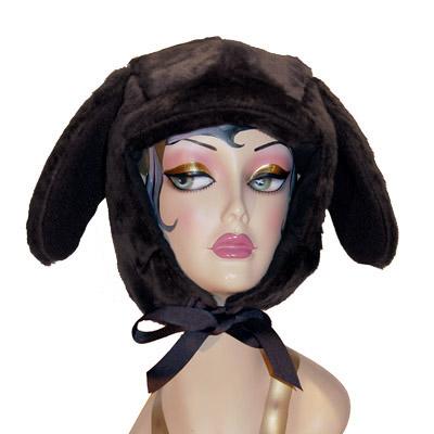 Faux Fur Lab Style Dog Hood Novelty Animal Hat Black