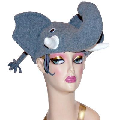 Polar Fleece Elephant Style Cap Novelty Animal Hat Gray
