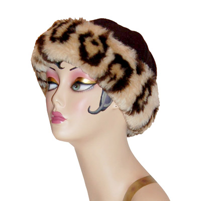 Leopard Faux Fur Cuffed Polar Fleece Beanie Hat