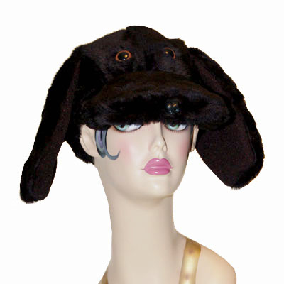 Faux Fur Lab Style Dog Cap Novelty Animal Hat Black