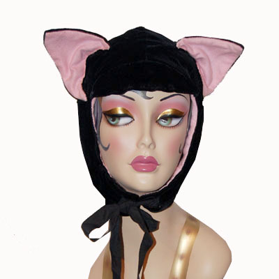 Black Velvet Cat Hood Novelty Animal Hat