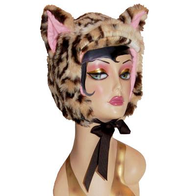 Leopard Faux Fur Cat Hood Novelty Animal Hat