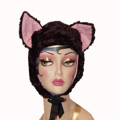 Black Faux Fur Cat Hood Novelty Animal Hat