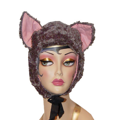 Gray Faux Fur Cat Hood Novelty Animal Hat