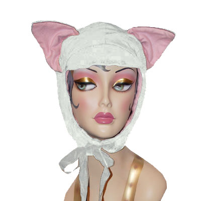 White Velvet Cat Hood Novelty Animal Hat