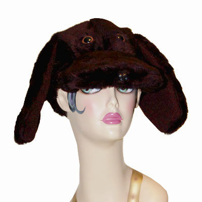 Faux Fur Lab Style Dog Cap Novelty Animal Hat Chocolate