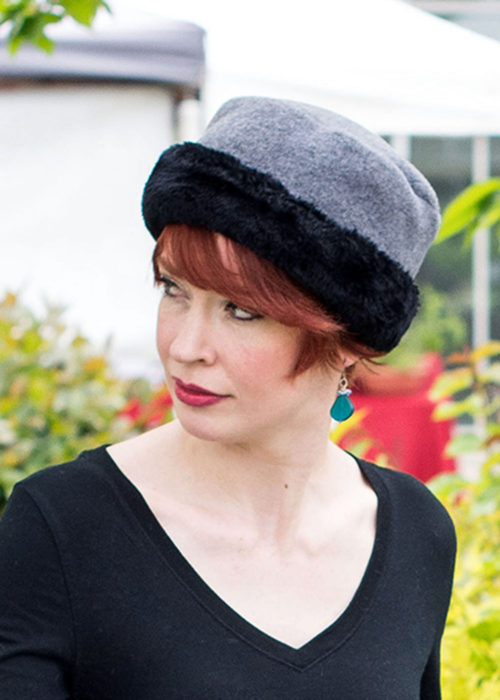 Faux Fur Cuffed Polar Fleece Pillbox Hat