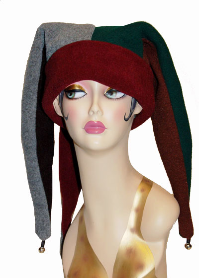 Polar Fleece Jester Style Cap Novelty Hat
