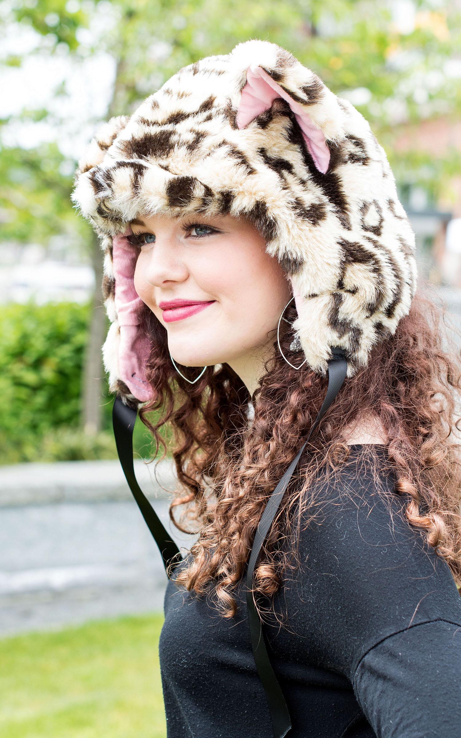 Animal Hats - Leopard Faux Fur Cat Hood Novelty Animal Hat