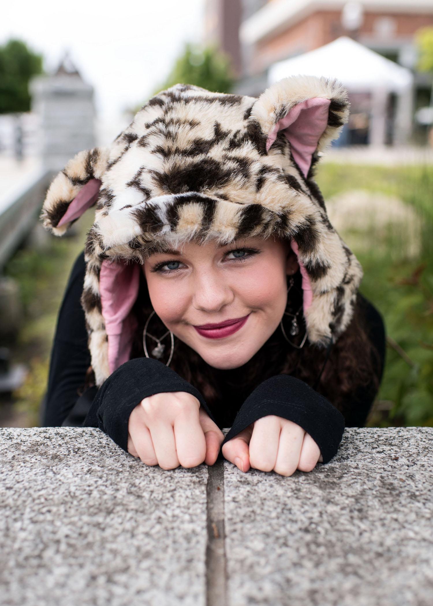 Leopard Faux Fur Cat Hood Novelty Animal Hat 2