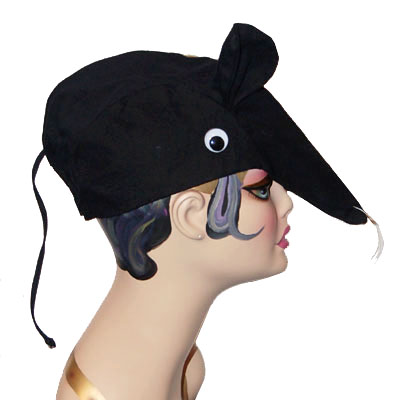 Rat Style Cap Novelty Animal Hat Black