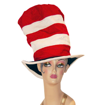 Red & White Stripe Velvet Flop Top Style Novelty Hat