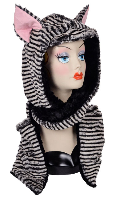 Faux Fur Hooded Animal Fully Lined Scarf, Mitten Pockets Tipsy Zebra Cuddly Black