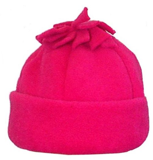 Tassel Polar Fleece Cuffed Six Panel Beanie Hat Pink