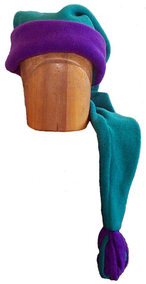 "Polar Fleece Super Sleepy Style Cap Novelty Hat 60"" Green and Purple"