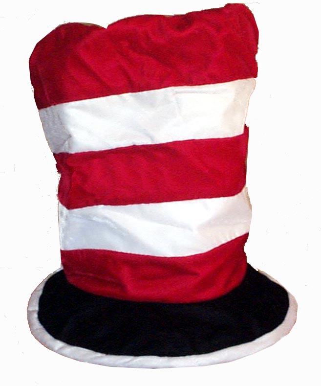 Red & White Stripe Velvet Flop Top Style Novelty Hat 2