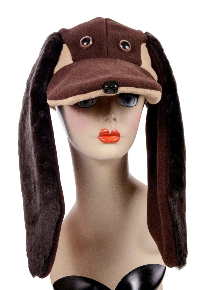 Polar Fleece Faux Fur Hound Dog Cap Novelty Animal Hat Front