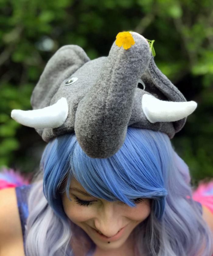 Polar Fleece Elephant Style Cap Novelty Animal Hat Gray Model Shot