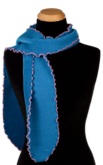 Aqua Polar Fleece Ruffled Scarf