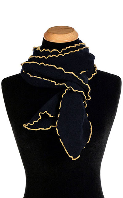 Black Polar Fleece Ruffled Scarf