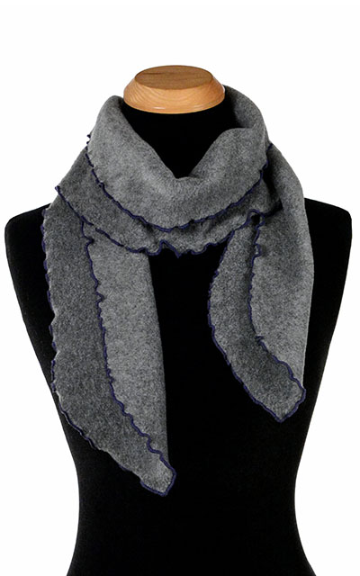 Charcoal Polar Fleece Ruffled Scarf