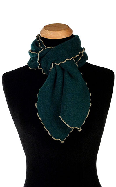 Forest Green Polar Fleece Ruffled Scarf