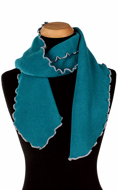 Jungle Green Polar Fleece Ruffled Scarf