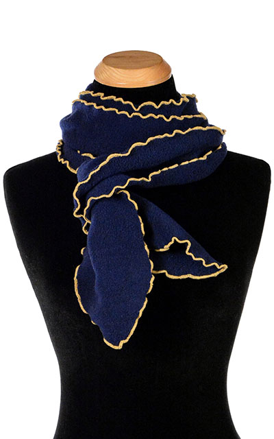 Navy Blue Polar Fleece Ruffled Scarf