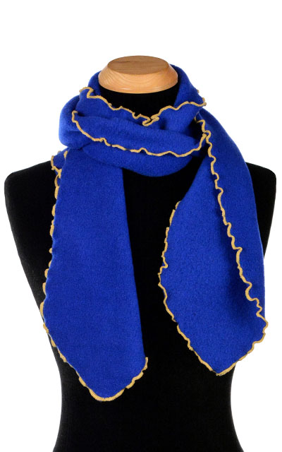 Royal Blue Polar Fleece Ruffled Scarf