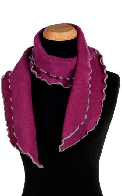 Wine Berry Polar Fleece Ruffled Scarf