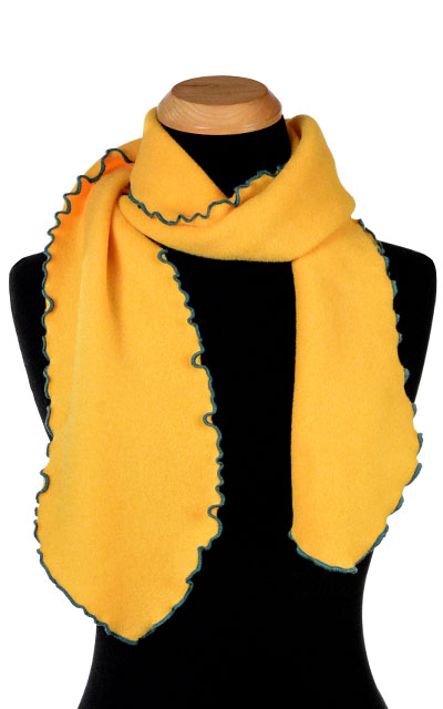 Yellow Polar Fleece Ruffled Scarf