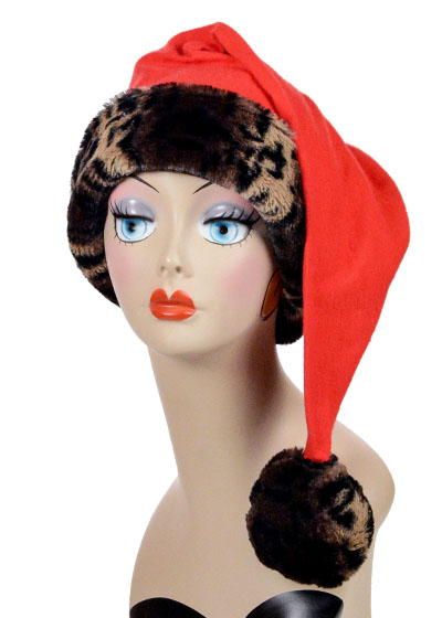 Santa Claus Hat Style Novelty Cap Cheetah Faux Fur